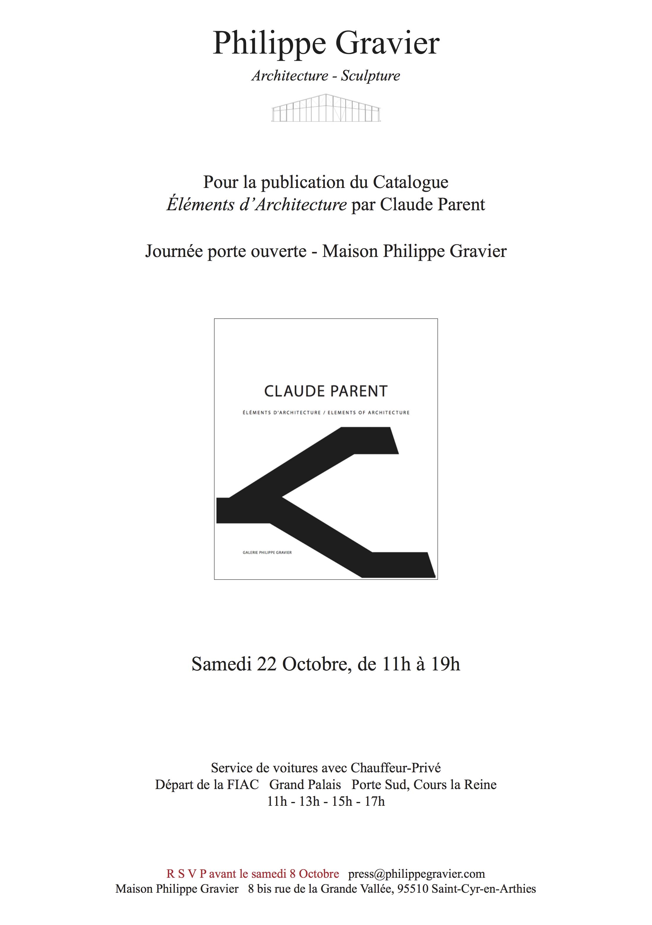 """Publication du catalogue """"Elements d'Architecture"""" par Claude Parent"""