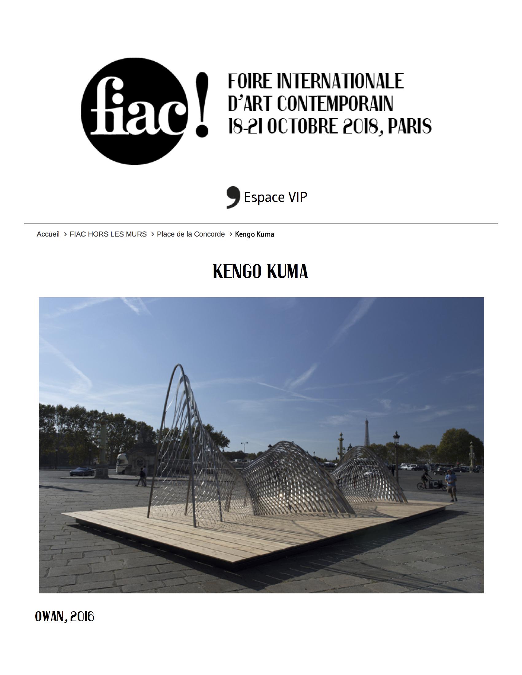 FIAC 2018, Kengo Kuma