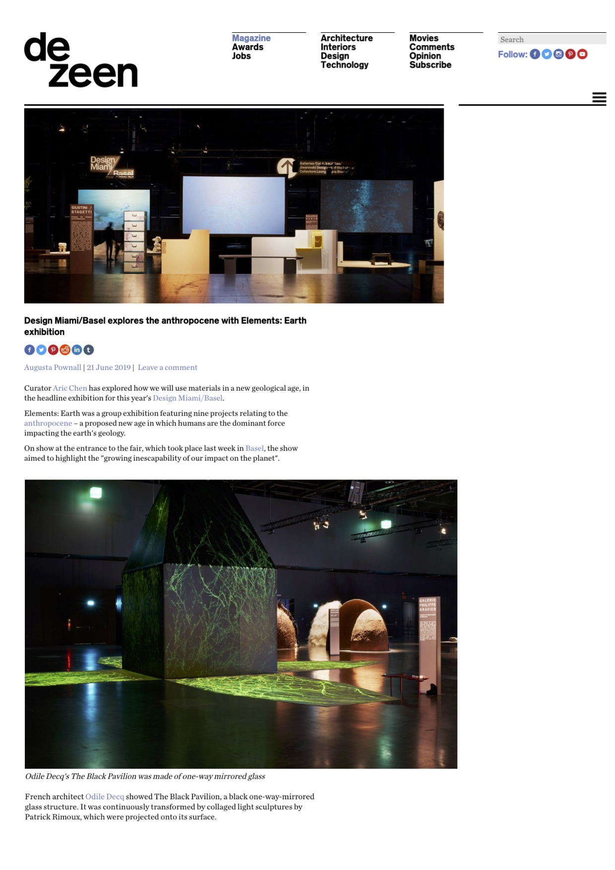 Dezeen – Design Miami/ Basel 2019