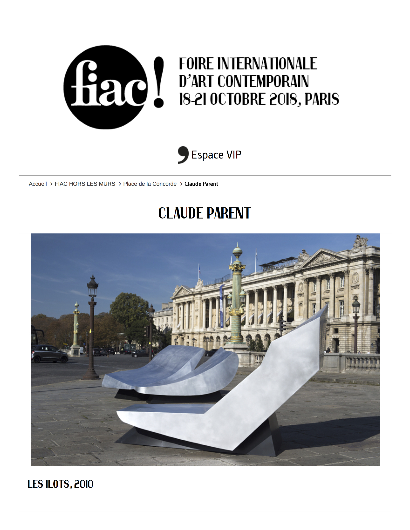 FIAC 2018, Claude Parent